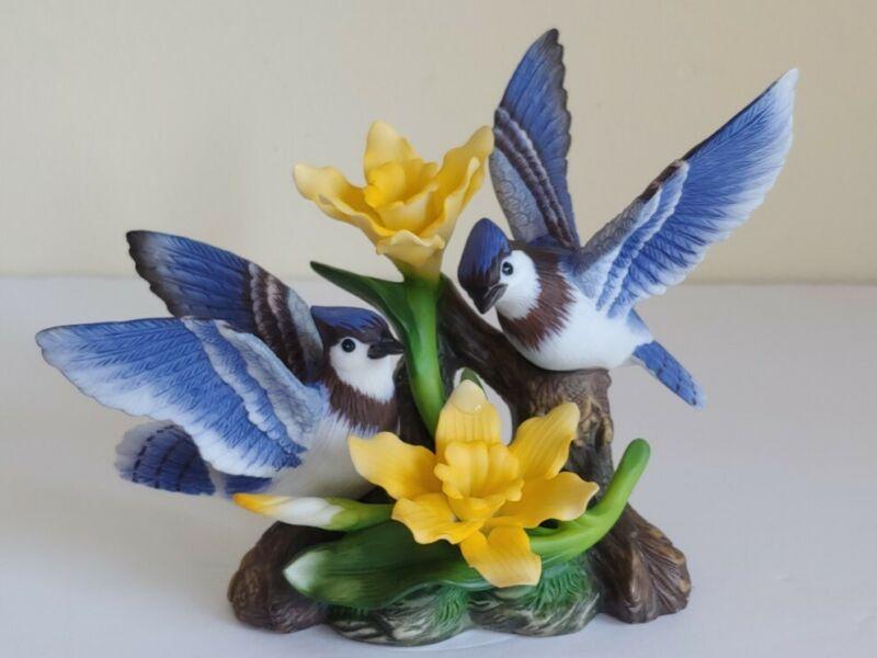 Holsted House Noble Blue Jays Porcelain Figurine 2001Porcelain Garden Collection