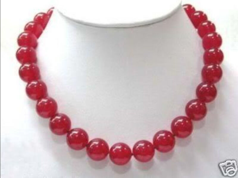 """12mm Red Ruby Round Beads Gemstone Necklace 18"""""""