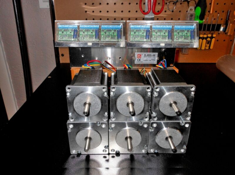 Gecko G251X 6 Drivers & 48v 12.5a Power Supply & 6 600oz in Dual Shaft Steppers