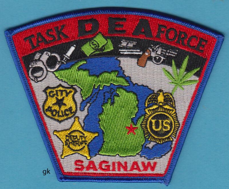 DEA TASK FORCE SAGINAW MICHIGAN POLICE SHOULDER PATCH  Marijuana