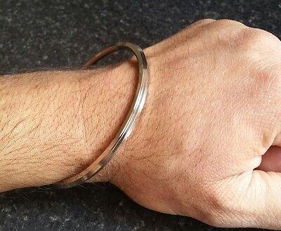 Stunning Stainless Steel Thin 5 Lines Sikh Khalsa Kara Kada Bracelet Bangle A3