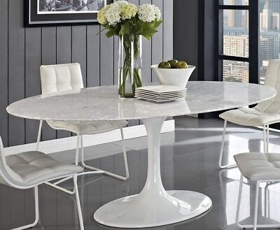 "HIGH-END Tulip Shaped Oval Dining Table 78"" Faux Marble or Fiberglass, Saarinen for sale  New York"