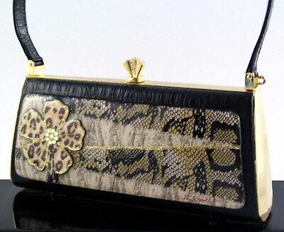 Debbie Brooks Black Croc-Embossed Leather Handbag - Crystal Safari