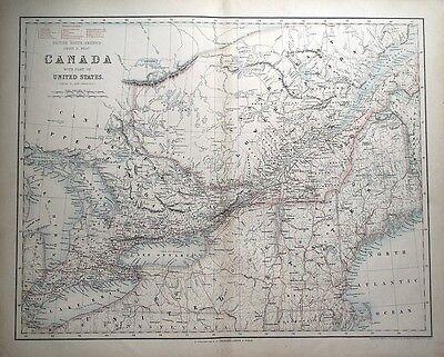 BRITISH NORTH AMERICA, CANADA, USA, RAILWAYS, Fullarton large  antique map c1865