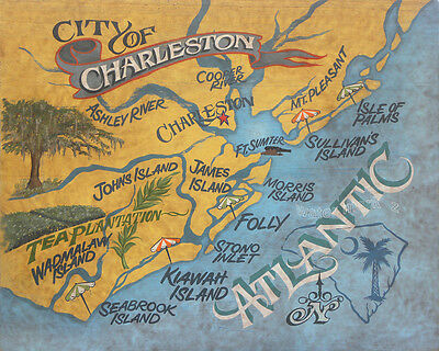 Charleston  SC retro map Print art decor  vintage look South  Carolina kiawah