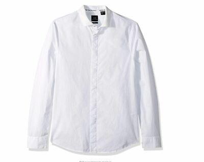 AX Armani Exchange Men's Classic Button Down, slub White, XS Micro plaid pattern