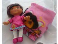 """Fisher Price 10"""" Dora the Explorer Doll & Mini Fleece Blanket / Comforter"""