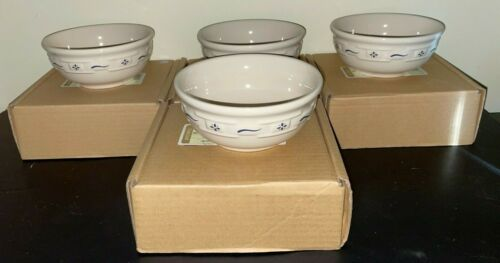 """(4) Longaberger WOVEN TRADITIONS BLUE 5 7/8"""" Cereal Bowls  NEW in BOX"""