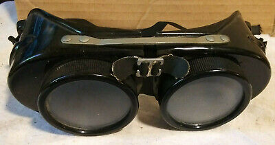 Vintage Steampunk Mad Max Aviator Welding Goggles Clear And Dark Lens Included