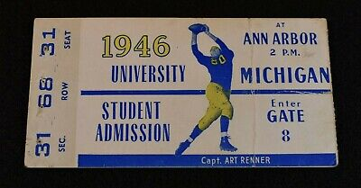 University Of Michigan Football Game - 1946 Original University of Michigan Football Game Ticket-Art Renner