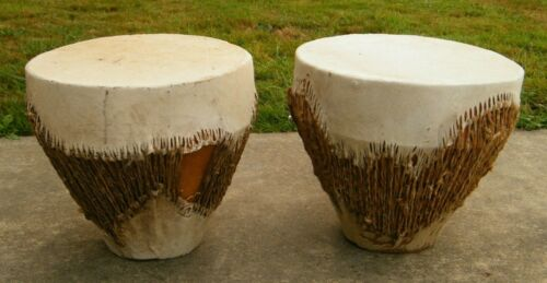 """AUTHENTIC ANIMAL HIDE CONGO STYLE DRUM, 15"""" ROUND X 15"""" TALL, USED"""