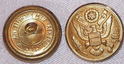 """WWII US Army Brass Overcoat Button Rex Product 1 1/8""""=28 mm=45L Pair B4103"""