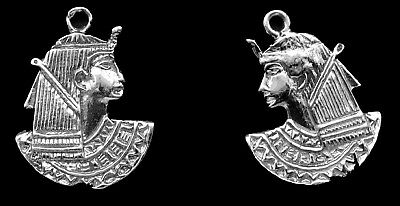 Sterling Silver Charms of Queen Cleopatra/  Sterling Silver/ Set of 2