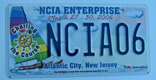 "NJ ATLANTIC CITY LICENSE PLATE "" NCIA 06 "" 2006 CONFERENCE TYPE # 3  SAILBOAT"