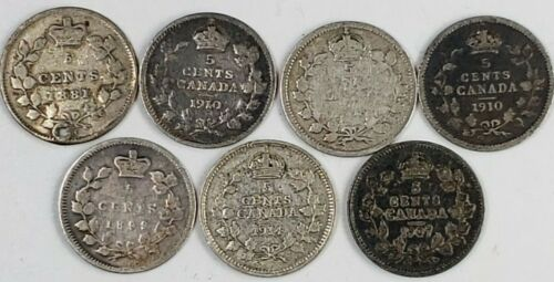 LOT OF 7 CIRCULATED CANADA 1881-1914 SILVER 5 CENTS AAF26
