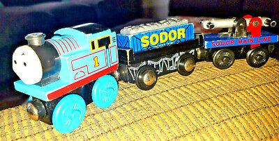 Thomas The Train Wooden Railway THOMAS TRAIN, HAND CAR & SODOR FISH CO. CAR