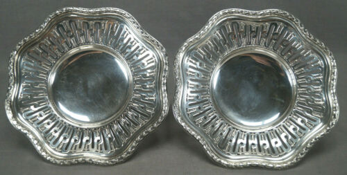 Pair of Andre Aucoc Paris French 950 Silver Reticulated Compotes Circa 1887-1911