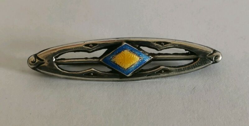 Silver Guilloche enamel Art Nouveau Brooch