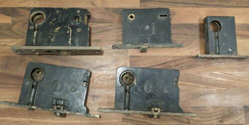 Lot of Antique Vintage Mortise Door Lock Key Latches (4 Corbin, 1 Von Quinn)