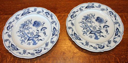 """2 Blue Danube Blue Onion Dinner Plates Ribbon Banner 10.25"""""""