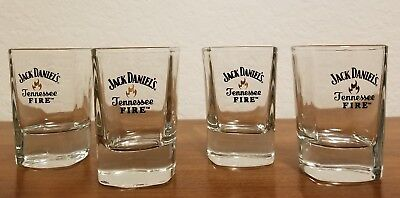 Set of Four Jack Daniels Tennessee Fire Whiskey Shot Glasses Collectible Barware for sale  Shipping to Canada