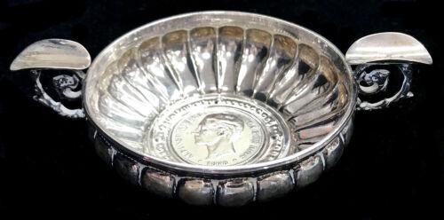 1878 SILVER SPAIN 5 PESETAS CUSTOM COIN SILVER SPANISH CIGAR ASHTRAY 86.8 GRAMS
