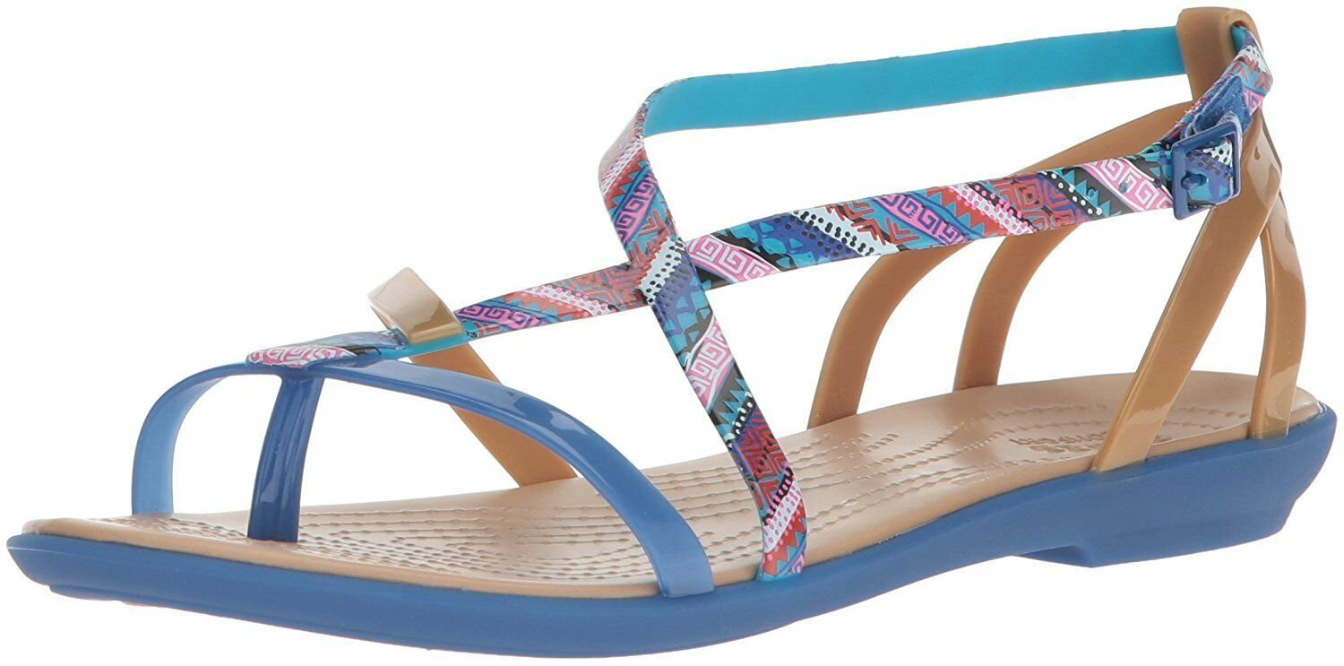 New Crocs 205146 Isabella Gladiator Graphic Sandal Blue Jean