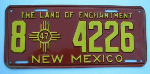 """NEAR MINT 1947 NEW MEXICO AUTO LICENSE PLATE """" 8  4226 """" ORIGINAL CONDITION NM"""