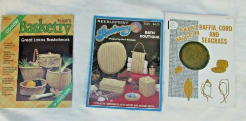 Lot of Three Vintage Basketry Instructional Books and Designs - Caning, Baskets