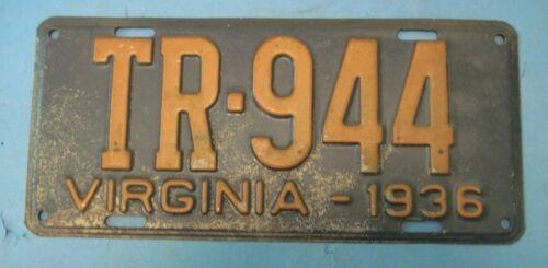 1936 Virginia trailer License Plate
