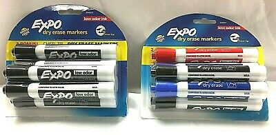 Expo Dry Erase Markers Chisel Tip Low Odor Ink Black Red Blue Green 12 Total