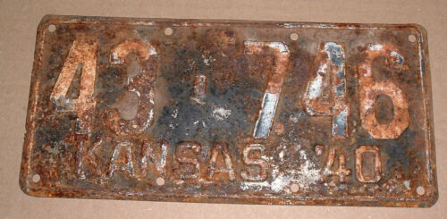 1940 Kansas License Plate 43-746 Jewell County Car Tag