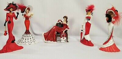 Coca Cola Victorian Beauties Figurines Collections - Red/White