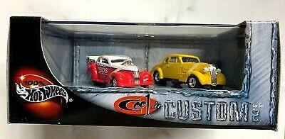 Hot Wheels 100% Cool N Custom II Car Set '37 Chevy's Drag and Custom NIB