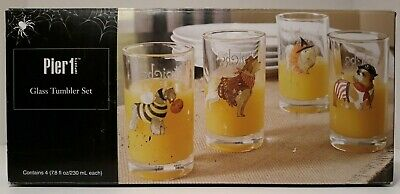 NEW Pier 1 Halloween Dogs Juice Glass Tumbler Set of 4, Tricks for Treats, HTF