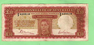 GEORGE-VI-TEN-POUND-NOTE-1940-SHEEHAN-McFARLANE-V3-659318-1st-PREFIX