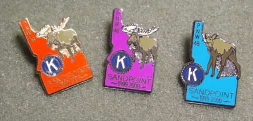 Kiwanis International PNW Division 48 Sandpoint Idaho Lapel Pin Lot (3) Moose