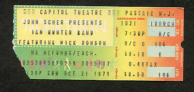 1979 Ian Hunter Mick Ronson concert ticket stub Passaic All The Young Dudes
