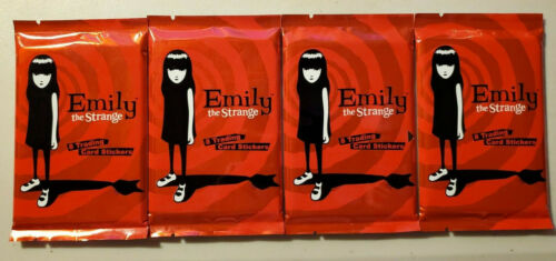 4 Packs EMILY THE STRANGE Trading Card Stickers Packs - New Sealed RARE