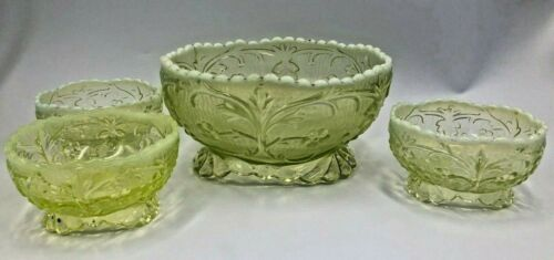 "Rare Beaumont ""Flora"" Vaseline Opalescent Berry Bowl Set Master + 3 small"
