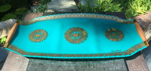 Mid-Century Georges Briard Teal and Gold Guilt Divided Bent Glass Tray