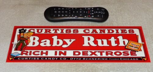 "VINTAGE ""CURTISS CANDIES BABY RUTH"" BASEBALL PLAYER 15"" METAL CHOCOLATE BAR SIGN"