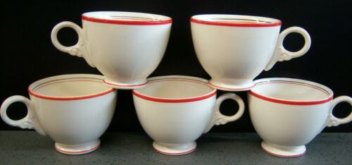 Vintage coffee cups (5) white w red & black band / stripe round handle ceramic