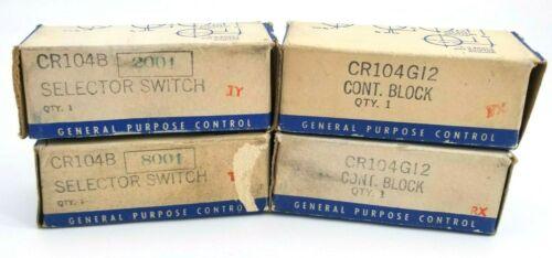 GE, CR104B2001 & CR104B8001 Selector Switch Operator, (2) CR104G12 Contact Block