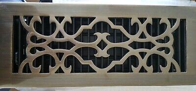 NIB: Traditional Solid Brass Floor Register, Victorian with Louvers, 4