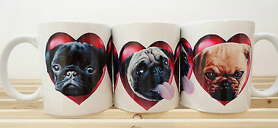Pug Mug Lovely Gift 3 coloured Pugs in Hearts, Birthday Xmas Gift Unique Design