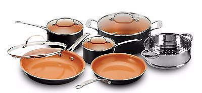Gotham Steel 10 Piece Nonstick Copper Frying Pan   Cookware Set  New  Free Ship