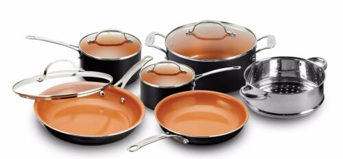Gotham Steel 10 Piece Nonstick Ceramic Pots & Pans Kitchen Cookware Set - NEW