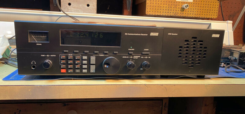 DRAKE 1920 R8 SHORTWAVE RECEIVER WITH OPTIONAL VHF CONVERTER & MS8 SPEAKER