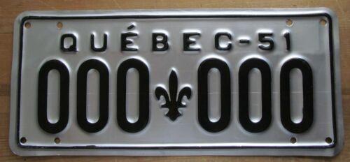 Quebec 1951 SAMPLE License Plate HIGH QUALITY # 000-000